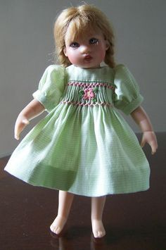 Hand Smocked Yoke Dress w Panties for Helen Kishs 7 Riley Doll | eBay