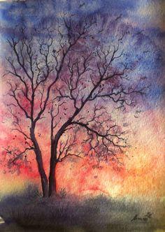 Sunset with tree by AnnaArmona on DeviantArt