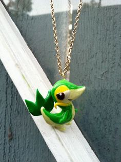 Pokemon Necklace Snivy Polymer Clay Charm by PokemonCharms on Etsy