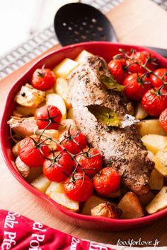 Mignon de Porc à l'Origan, au Citron, Pommes de Terre et Tomates Rôties - Food for Love