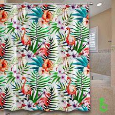 #flamingos #flowers #leaves #tropical #nature #painted #Shower #Curtain #showercurtain #decorative #bathroom #creative #homedecor #decor #present #giftidea #birthday #men #women #kids #newhot #lowprice #cover #favorite #custom