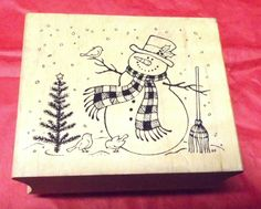 Snowman with birds rubber stamp Winter Holidays tree broom snow scene mounted #Unbranded #Christmasstamps