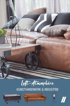 Entdecke den LOFT STIL. Der Industrial Look vereint modernes Design mit nostalgischen Elementen und Möbeln. Die Grundmaterialien sind Holz, Stahl Blech, Beton und Leder. Die typischen Farben des Industrial Style sind bedeckte Farbtöne wie Braun und Anthrazit, dunkle Grün- und Blautöne und intensive Farben wie gelb für einzelne Accessoires. OSTERMANN hat speziell für diesen Einrichtungsstil eine eigene Möbel-Linie-LOFT- zusammengestellt. Lass Dich inspirieren und habe viel Freude beim Einrichten! Outdoor Sofa, Outdoor Furniture, Outdoor Decor, Loft Stil, Industrial, Home Decor, Contemporary Design, Wood Steel, Homes