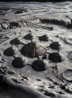 Nazi Moonbase - Moon Base by wraithdt on DeviantArt Arte Sci Fi, Sci Fi Art, Cyberpunk, Space Colony, Space City, Aliens And Ufos, Futuristic Art, Science Fiction Art, Future City