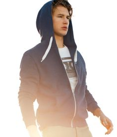 Blue Melange Hooded Jacket from H and M