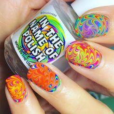 Neon Watermarble Swirl
