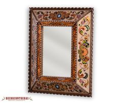 DECORATIVE WALL MIRROR, COLONIAL MEMORIES- HOME WALL DECOR - PERUVIAN HANDICRAFTS. Colonial Memories. An elegant colonial design embellish this convex mirror, with an aged golden edge. Lovely Mirror inspired in designs found in the palaces and colonial large houses of Peru. The painted glass art can be seen in the backside of this piece of art with a cream-colored background that is a delight to watch, and makes for a great piece of art for your home. ►ITEM DETAILS…