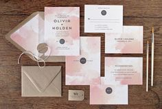 watercolor wedding invitation with abstract style in varying shades of peach with Kraft paper envelopes @myweddingdotcom