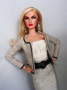 Wearing: Jacket - Chanel Inspired ClearLan Top - ClearLan Belt - Monsieur Z Skirt - Monogram Escapade Shoes - Barbie Earrings - Ooak
