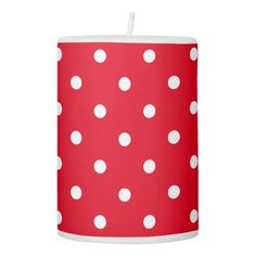 Polka Dots in Red and White Pillar Candle