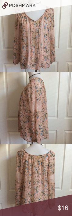 "Pink Floral Lace Peasant Blouse Perfect sheer floral top for the festival season! In great condition. Flowy Poly fabric. 22""B, 26""L. Princess Vera Wang Tops Blouses"