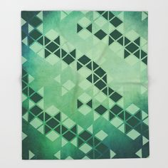 Forest Green - Geometric Triangle Pattern Throw Blanket by pelaxy Triangle Pattern, Throw Blankets, Iron, Cozy, Quilts, Abstract, Water, Artwork, Design