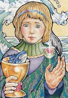 Page of Cups by Mary Hanson-Roberts (Hanson-Roberts Tarot)