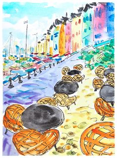Outdoor cafe painting. Sailing art. Orange cafe art. Sailboat art. French sailboat harbour. Wall art sailboats. Ocean art. Sailing gift