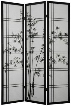 Bamboo Sunrise Japanese Shoji Screen (Black Finish) This Beautiful Japanese  Shoji Screen Features Bamboo Trees Silhoutted Against A Tropical Sunrise  (when ...