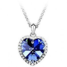 Bonyak Jewelry 18 Inch Rhodium Plated Necklace w// 4mm Blue December Birth Month Stone Beads and Heart//Confirmation