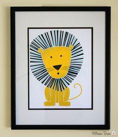 Nursery art, nursery decor, baby nursery print, kids room decor, nursery wall art, lion, 8x10 in. print- Lion. $19.95, via Etsy.