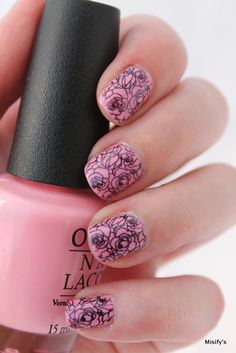 Rose Garden. OPI - Chic From Ears To Tail / Konad - Black / MoYou London - Tourist Collection 07