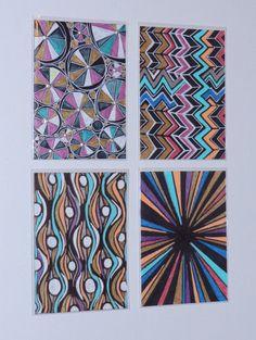 Aceos 4 Geometric Abstract Originals Ink by HeatherMontgomeryArt