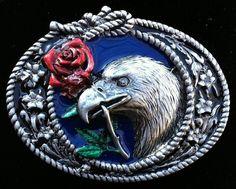 Freedom Eagles Red Rose Knot Bird Peace Era Unisex Girls Boys Gifts Belt Buckles #CoolBuckles #Classic #eagle #rose #baldeagle #americaneagle #beltbuckle #eaglebuckle #buckles