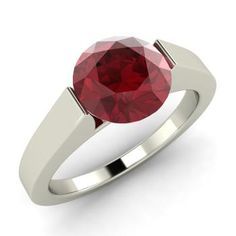 Willa Ring with Round Ruby   1.41 carat Round Ruby  Solitaire Ring in Platinum   Diamondere