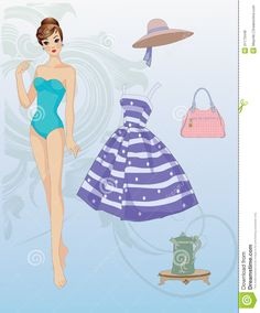paper dolls to cut out and color | Paper doll cut-out with their looks and handbag.