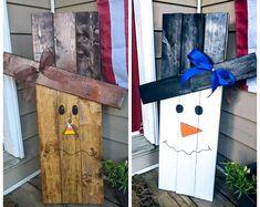 Reversible Scarecrow/ Snowman Wooden Outdoor Reclaimed Wood Sign