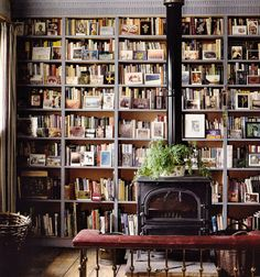 Ben Franklin fireplace & a library.  I must have something like this... Reading a book by the fire!