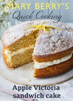 Grate a little apple into your Victoria sandwich for a quick twist on the favourite. A little lemon curd filling gives it zing. Apple Cake Recipes, Baking Recipes, Dessert Recipes, Sponge Cake Recipes, Mary Berry Cake Recipes, Cooking Apple Recipes, Apple Sponge Cake, Great British Bake Off, Mary Berry Apple Cake