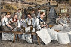 Stitching canvas in a sail-loft down in Maine, 1800s. Hand-colored woodcut of a 19th century illustration