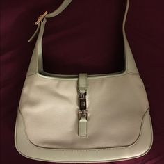 Authentic Gucci purse Authentic Gucci, small shoulder purse, leather lining, silver clasp and strap belt, light seafoam green, only used once Gucci Bags Mini Bags