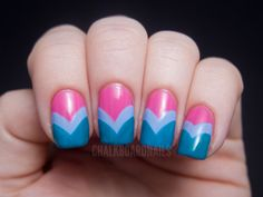 Candy-colored fishtail manicure