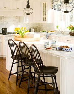 kitchen - love the onion lamps, tile backsplash and windsor chairs