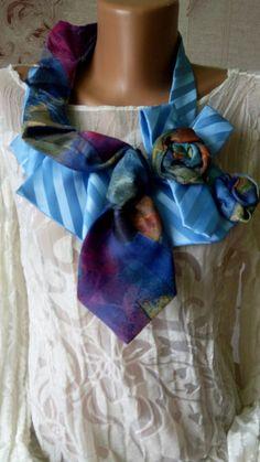 fa46281ddd5b40 Ladies Blue plus multicolor Necktie ruffle collar Silk Necktie Scarf Silk  neckpiece Ladies gift ideas Ascot scarf collar necklaces Necklace