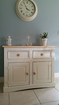 Shabby chic pine sideboard dresser 2 door 2 drawers in Laura Ashley white Ashley White, Laura Ashley, Shabby Chic Furniture, Drawers, Dresser, Doors, Cabinet, Storage, Puertas