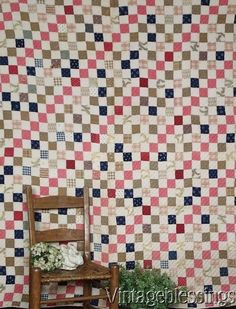 $195 Beautiful Early Fabrics! Antique c1880 Farmhouse One Patch QUILT www.Vintageblessings.com
