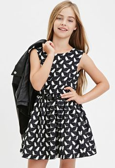 Girls A-Line Bird Print Dress (Kids) | Forever 21 girls - 2000182061