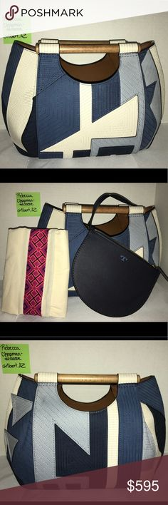 "Tory Burch Dowel Patchwork Round Tote - Blue Multi Do you like unique & fashionable accessories? Don't miss out on this rare opportunity.   Very small skuff front leather (light blue). Much less noticeable in person than in pic. No shoulder strap but any detachable strap can be used; endless possibilities.  *Artful patchworked leather w/wooden dowel handles. *Goldtone hardware (inside) *One inside removable zipper pouch  *Leather lining *13.5""W x 10""H x 6""D *TB storage bag  *Non-Smoking, dog…"