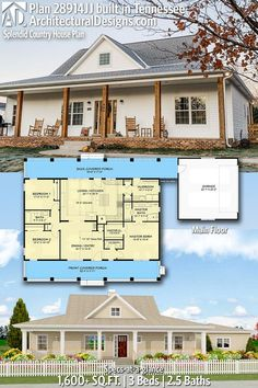 Architectural Designs - Selling quality house plans for over 40 years Architectural Designs Modern Farmhouse Plan client-built in Tennessee Barn House Plans, New House Plans, Dream House Plans, Small House Plans, Country House Plans, Pole Barn Homes Plans, Rectangle House Plans, Simple Ranch House Plans, One Level House Plans