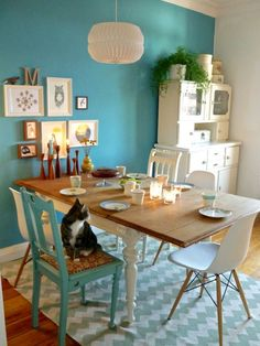 Kitchen Dining Room Designs rustic, shabby chic table with multi coloured chairs that remind