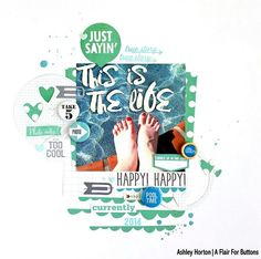 Use droplets of blue spray mist to create the look of water on layouts.  #scrapbooking  #scrapbookinglayout
