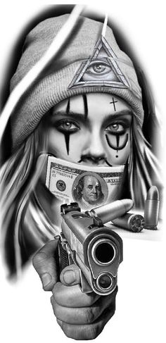 Chicano Tattoos Gangsters, Chicano Tattoos Sleeve, Chicano Style Tattoo, Gangster Tattoos, Skull Girl Tattoo, Girl Face Tattoo, Clown Tattoo, Card Tattoo Designs, Tattoo Design Drawings