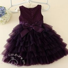 Aubergine Pearls & Bow Layered #Party #Dress