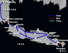 Map of train and ferry routes in Indonesia, including Sumatra, Java and Bali