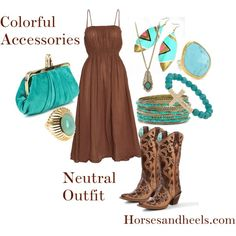 """Brown & Turquoise"" by horsesandheels on Polyvore"