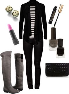 """Striped Top with Black Sweater and Jeans"" by mlc04536 on Polyvore"
