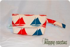 Red and Blue Sailboat Wristlet Clutch