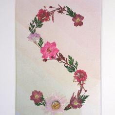 """Letter """"S"""" Monogram  - Original Pressed Flower Art, Framed Art, Wall Art, Reiki Charged"""