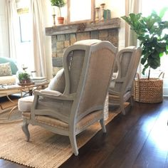 Chair Makeover | WiscoGirl71 on Instagram | Holly Mathis Interiors | She used painters cloth, burlap, and milk paint to transform these beautiful chairs!