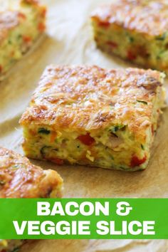 This quick, easy and healthy Zucchini and Bacon Slice is so versatile. Meal prep a batch for the week and use it for breakfast, lunch or dinner! This zucchini slice with bacon is great served hot or cold, so you can also pop it into kids lunch boxes. Quiche Recipes, Brunch Recipes, Breakfast Recipes, Meatloaf Recipes, Recipes Dinner, Vegetable Slice, Vegetable Recipes, Vegetable Bake, Healthy Zucchini